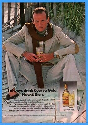 1976 Jose Cuervo Especial Tequila Good Looking Man On Beach With Drink Print Ad
