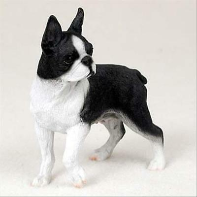 Boston Terrier Dog Hand Painted Collectable Figurine Statue