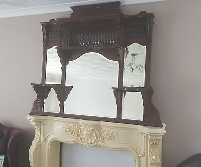 Antique oak overmantle mirror