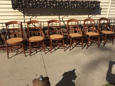 Antique Set Of 6 Eastlake Walnut Victorian Side Chairs Caned Seat w/h Burl Inlay
