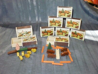 9x VINTAGE GERMAN WOODEN MINIATURE TOY BUFFALO and ducks in MATCHBOX