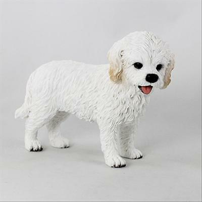 Cockapoo White Dog Hand Painted Canine Collectable Figurine Statue