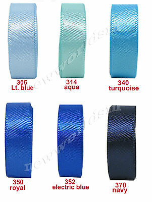 "5y 57mm 2 1/4"" Mixed Blue Shades Premium Single Sided Satin Ribbon Eco FREE PP"