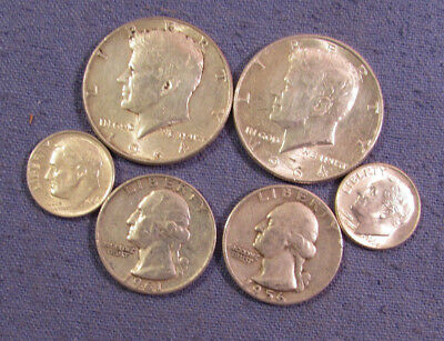 Lot 6 Us Silver Coins 1964 & 1964 Kennedy Half Dollars 1956 & 1961 Quarters Etc