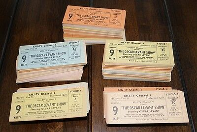 LOT of 500+ Oscar Levant 1959 TV SHOW KHJ channel #9 HOLLYWOOD CA Unused Tickets
