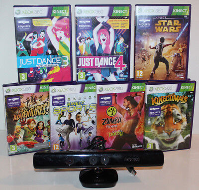Official Xbox 360 Kinect Sensor + 7 Kinect Games Star Wars Zumba Just Dance Etc