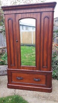 Victorian wardrobe - deep bottom drawer - mirror - solid mahogany