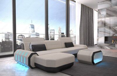 Stoff Couch Materialmix ROMA L Form Design Polster Ottomane LED Beleuchtung USB