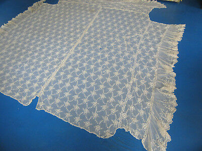 Antique Net Lace Bedspread Bed Cover Large & Ornate
