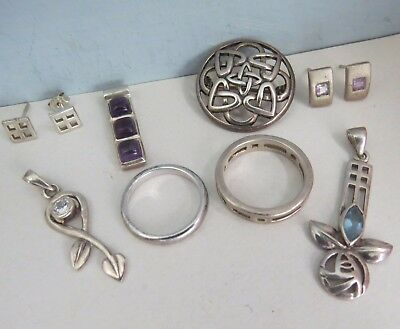 Mixed Lot VINTAGE Sterling Silver Scottish Celtic JEWELLERY  -Wear/Resell