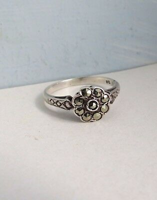 Pretty VINTAGE  Marcasite Floral Cluster RING