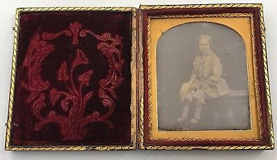 Cased Bright Hand Colored Sixth Plate Daguerreotype Young Boy In Dress Straw Hat