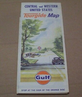 Vintage Central & Western United States Tourgide Map Tourist Travel  Gulf Oil