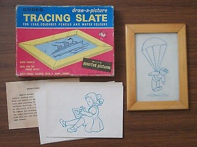 CODEG TRACING SLATE with 14 Assorted Pictures Wooden Frame 1950s Vintage Toy