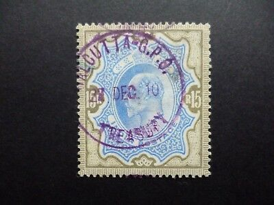 INDIA :- 1909 : SG146 : 15 Rupees Blue & Grey, Used.