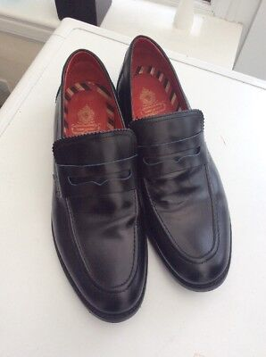 Mens Base London Balfour Black Leather Loafers shoes size 10 Euro 44formal