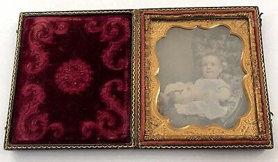 Cased Hand Tinted Sixth Plate Daguerreotype of Chubby Baby in Dress