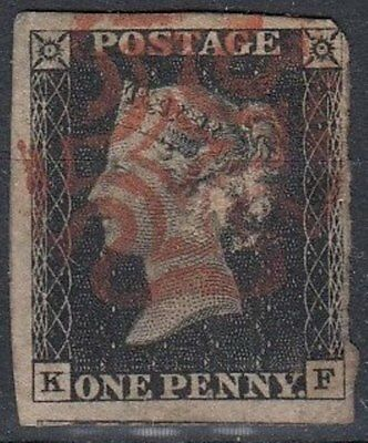 1840  1d Black  3 Margin  (KF)  Paper Adhesion on Back   Used   (4650)