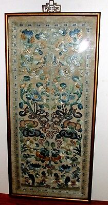 Antique Framed Chinese Embroidered Panel / Flowers & Butterflies