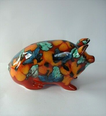 Attractive Colourful Ceramic Pottery Pig Figure - Artist Initials on Base