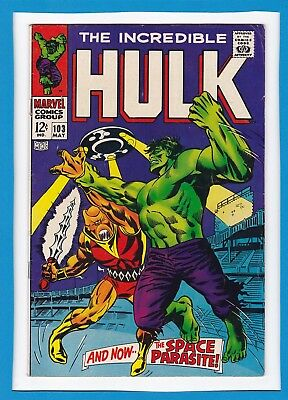 "Incredible Hulk #103_May 1968_Fine_""and Now...the Space Parasite""_Silver Age!"