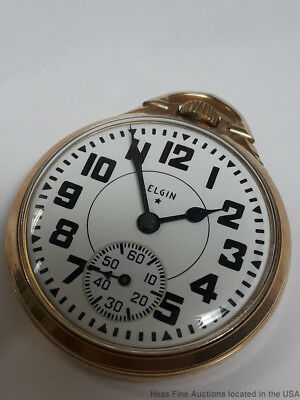 Elgin Railroad 16 Size Antique Mens Pocket Watch Working