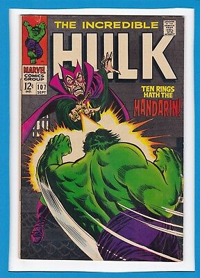 "Incredible Hulk #107_Sept 1968_Fine/very Fine_""ten Rings Hath The Mandarin""!"