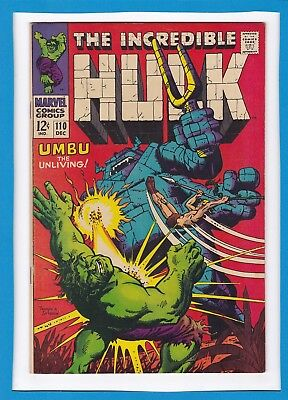 "Incredible Hulk #110_Dec 1968_Very Fine Minus_""umbu The Unliving""_Silver Age!"