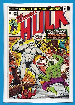 INCREDIBLE HULK #162_APRIL 1973_FINE+_1st APPEARANCE OF WENDIGO_BRONZE AGE UK!