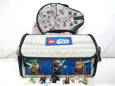 Lego Star Wars Bundle Lot Zip Bag Carrying Play Mat Storage Cases w/ Minifigures