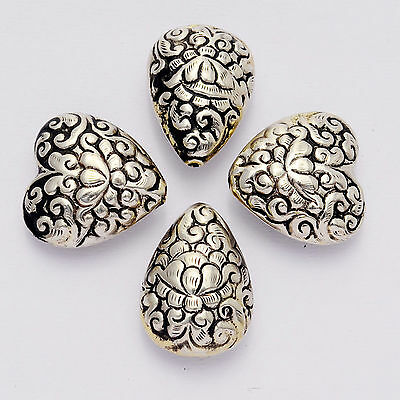 Lotus White Metal 4 Beads Nepalese Tibetan Handmade Nepal Wholesale Lot WS129