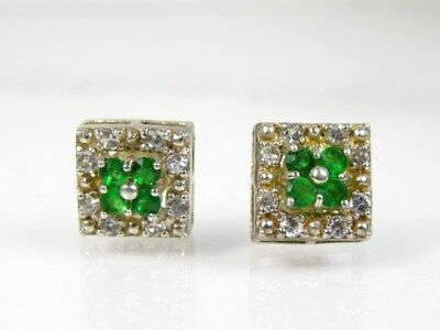 Estate Sterling Silver 925 Emerald & White Topaz Stud Ladies Earrings 1.7g