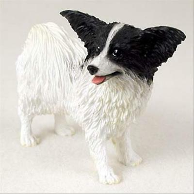 Papillon,Black White Dog Hand Painted Canine Collectable Figurine Statue