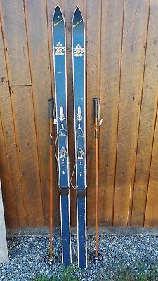 "VINTAGE Wooden 74"" Skis Has BLUE Finish Signed ST MORITZ OSLO + Bamboo Poles"