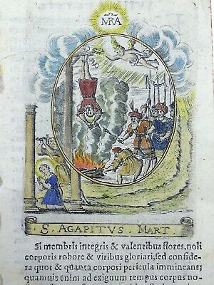 1630 HOLY CARD - Agapitus of Palestrina - hand colored 380 years old