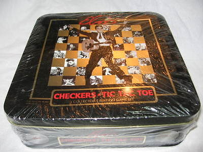 Elvis Presley Checkers & Tic Tac Toe Game Set Tin Container Still Sealed Candid