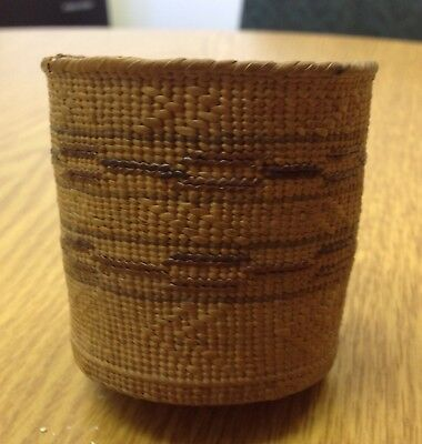 Antique Native American Indian basket tight weave Northwest Coadt Tlingit? NR