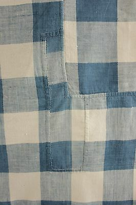 Antique French Vichy check blue fabric material TIMEWORN STUNNING!!!!