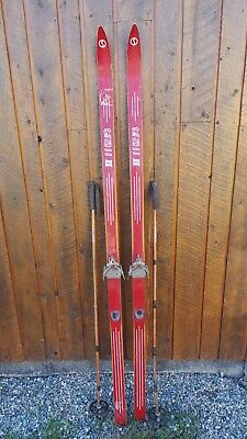 "VINTAGE Wooden 75"" Skis Has RED Finish Signed TRAIL II + Bamboo Poles"