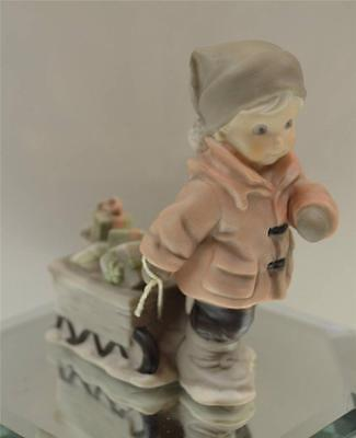 Kim Anderson PAAP FIGURINE Boy Pulling Sled of Gifts 184713 in BOX FREEusaSHIP