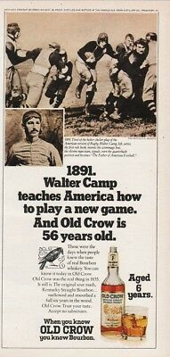 1974 Old Crow Bourbon Whiskey 1891 Walter Camp Father Of Football Photo Ad