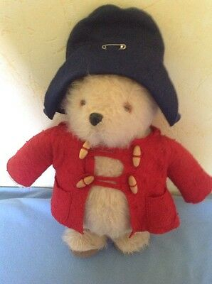 Paddington Bear Vintage 1981 By Gabrielle Design Wearing Red Coat And Blue Hat.