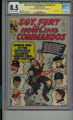 Sgt Fury And His Howling Commandos #12 Cgc Ss 8.5 Signed Stand Lee Nick Fury
