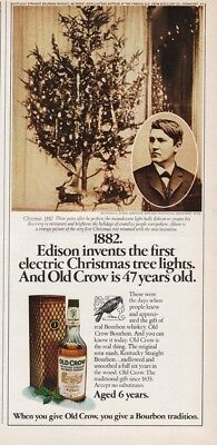 1974 Old Crow Bourbon Whiskey Thomas Edison 1882 First Christmas Tree Lights Ad