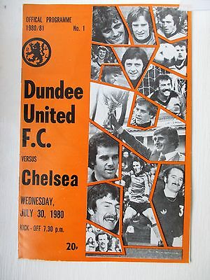 Dundee United v Chelsea football programme 1980 - Pre season friendly
