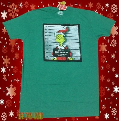 New Dr. Seuss The Grinch Christmas Wanted Poster Mens Vintage T-Shirt