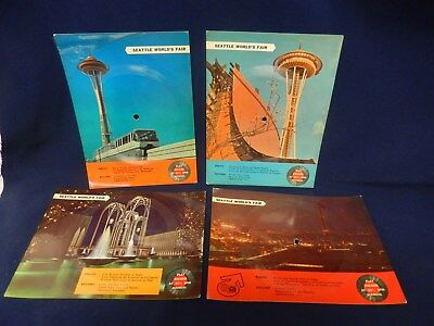 4x 1962 Seattle World's Fair 33 1/3 Record Postcards: Space Needle Monorail
