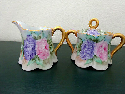 Beautiful Vintage Hand Painted Sugar & Creamer With Chrysamthemums