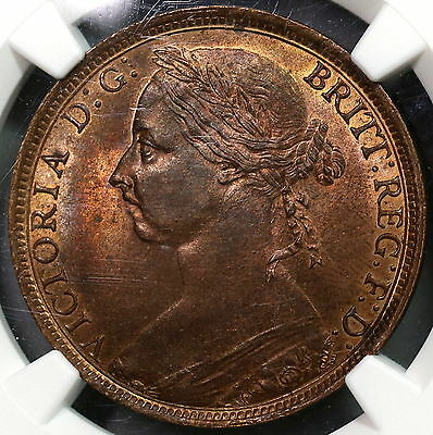 1891 NGC MS 63 RB Penny Victoria GREAT BRITAIN Coin (16122201C)