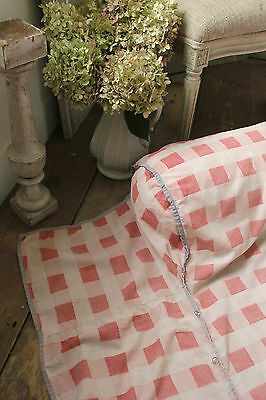 Vintage French pink PRINTED check day bed daybed coverlet c1920 cotton